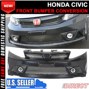 For 12 14 Honda Civic 4dr Mug Rr Style Front Bumper Conversion Usdm Only Abs