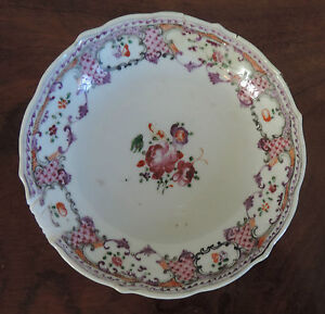 Antique Chinese Export Porcelain Saucer Plate Famille Rose 18th Century 1760