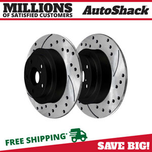 Rear Drilled Slotted Disc Brake Rotors Pair 2 For Subaru Impreza Forester 2 5l