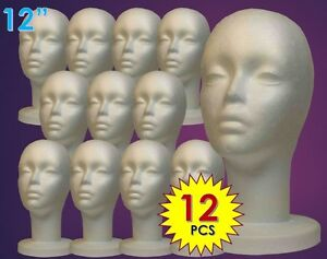 Wig Female Styrofoam Head Foam Mannequin Display 12 12pcs