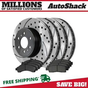 2 Complete Front Rear Pair 4 Performance Rotors And 8 Ceramic Pads Full Set
