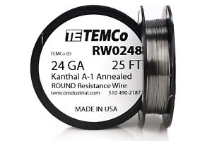 Temco Kanthal A1 Wire 24 Gauge 25 Ft Resistance Awg A 1 Ga