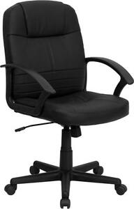 Flash Furniture Mid back Black Leather Executive Swivel Office Chair New