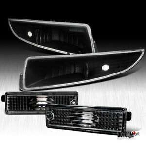 1993 2002 Chevy Camaro Front Rear Side Marker Black Signal Lamps Bumper Lights