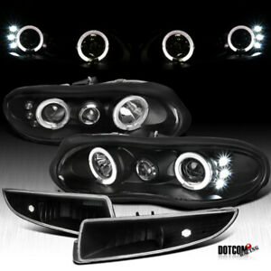 2000 2002 Chevy Camaro Black Halo Led Projector Head Lights Front Bumper Lamps