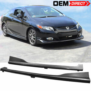 For 12 15 Honda Civic 9th Gen 2dr Door Coupe H Style Side Skirts Pair Pu