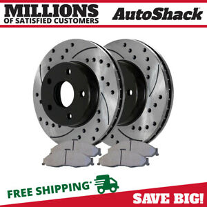 Front Drilled Slotted Rotors And Ceramic Pads For 1998 2001 2002 Camaro Firebird
