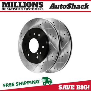 Front Drilled Slotted Disc Brake Rotors Pair 2 For Chevrolet Silverado 1500 6 2l