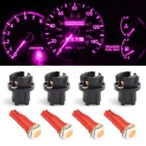 4pcs T5 9mm Twist Lock 37 74 Pink Instrument Cluster Indicator Led Bulb 1 Smd