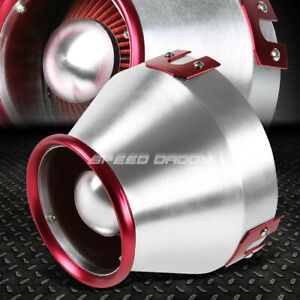 6 red silver Aluminum Heat Shield Cold Air Short Ram Intake Cotton Cone Filter