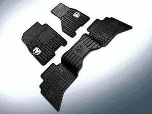 2009 2012 Dodge Ram Crew Cab Rubber Slush Floor Mats Front Rear Set Mopar Oem