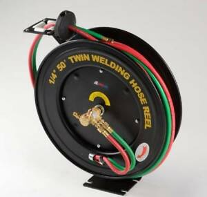 Retractable Torch Welding Hose Reel 50ft 1 4 Auto Rewind Oxygen Acetylene Wall