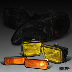 Fit 1996 1998 Civic Smoke Headlights Yellow Bumper Fog Lamps Amber Side Markers