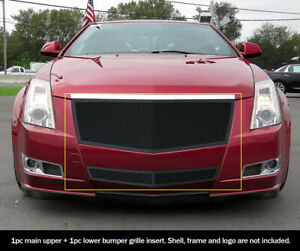 08 12 2011 2012 Cadillac Cts Black Stainless Steel Mesh Premium Grille Combo