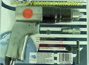 3 8 Air Drill Pneumatic Reversible Auto Mechanics New In Package With Warranty