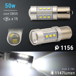2x 1200 Lumens 1156 50w High Power Chip Led White Reverse Back Up Lights Bulbs