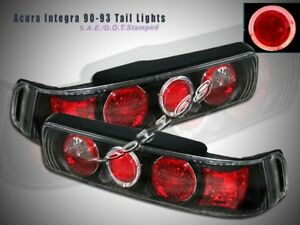 Fit For 90 93 Acura Integra Tail Lights Jdm Black Halo 91 92