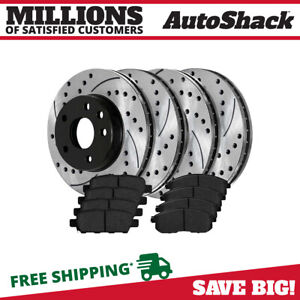 Front Rear 4 Drilled Slotted Rotors 8 Ceramic Pad For 2003 2005 Infiniti G35