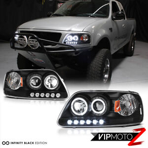 Black Dual Led Halo Ring Projector Lamp Headlight For 97 03 Ford F150 expedition