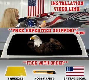 American Flag Eagle Pick up Truck Rear Window Graphic Decal Perforated Vinyl