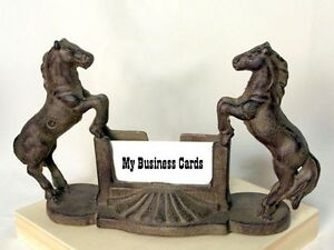 Rustic Metal Western Horse Statue Sculpture Company Business Card Display Stand