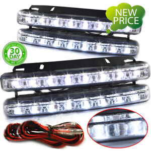 4pcs Super Bright 8led White Car Driving Lamp Fog 12v Drl Daytime Running Light