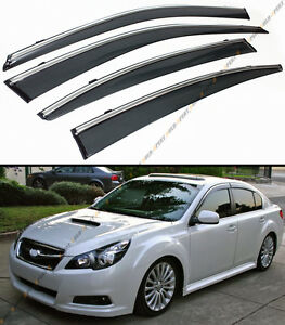 For 10 14 Subaru Legacy 4 Dr Sedan Clip On Smoke Tinted Window Visor Chrome Trim