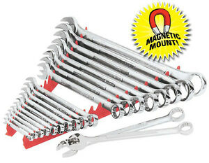 Ernst 6012m 20 Tool Wrench Organizer Rail Set With Magnetic Mount Red