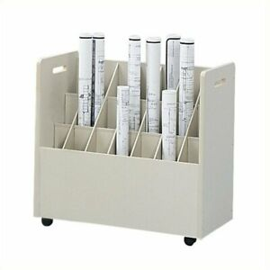 Filing Cabinet File Storage Compartment Mobile Wood Roll Organizer In Putty