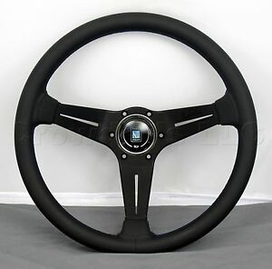Nardi Steering Wheel Deep Corn 350 Mm Classic Horn Black Smooth Leather Blue