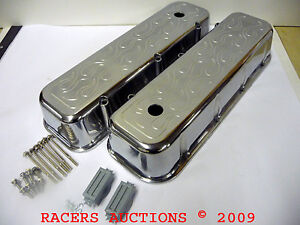 Big Block Chevy Polished Cast Aluminum Flame Top Tall Valve Covers 454 396 502