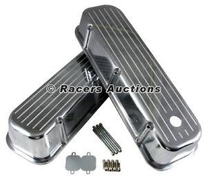 Chevy 454 Cast Aluminum Tall Valve Covers Polished Ball Milled Top 396 427 502