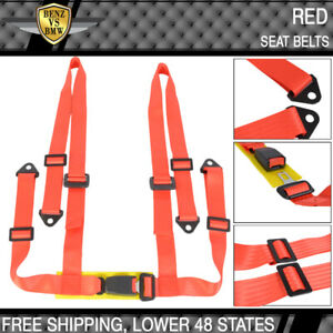 2x Universal Jdm Red 4 Point Racing Seat Belts Safety Harness 2 Inch Strap Pair
