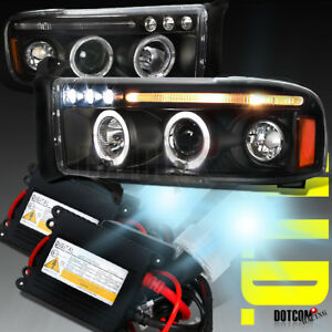 1994 2001 Dodge Ram Black Halo Projector Headlights 6000k Slim Xenon Hid Kit