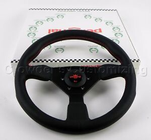 Personal 330mm Grinta Steering Wheel Black Perforated Leather With Red Stitching