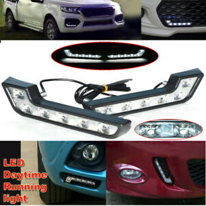 2x Pure White L Shaped 6 Led Daytime Running Lights Fog Lamps For Truck Off Road