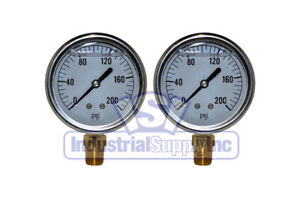 Liquid Filled Pressure Gauge 0 200 Psi 2 1 2 Face 1 4 Lm Single Scale