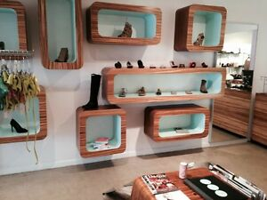 Veneer Zebra Wood Custom Display Cubes For Retail Store