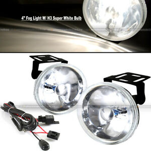 For A4 A3 4 Round Super White Bumper Driving Fog Light Lamp Kit Complete Set