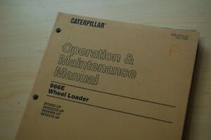 Cat Caterpillar 966e Wheel Loader Front End Operation Maintenance Owner Manual