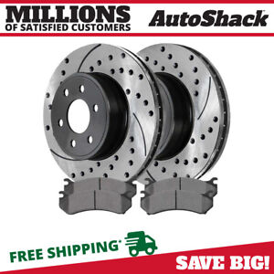 Front Drilled Slotted Rotors 4 Ceramic Brake Pads Fits Chev Gmc Or Cadillac