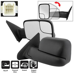 L R Power Heat Side View Towing Truck Mirrors Assembly Dodge Ram 02 08 1500 V8