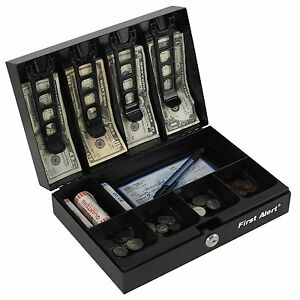 New First Alert Steel Cash Box With Money Tray Safes Lock Boxes Keys Scurity
