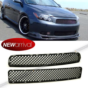 Fit Tc 04 05 10 Upper Lower Center Badgeless Glossy Black Vip Mesh Grill Grille