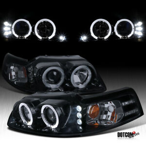 1999 2004 Ford Mustang Led Halo Rim Glossy Black Projector Headlights Left right