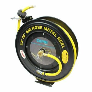 3 8 X 50 Retractable Oil High Pressure Auto Rewind Hose Reel Rubber Spring New