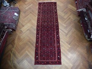 Handmade Herati Quality Carpet 3 X 10 Persian Kurd Bijar Enhanced Wool Rug