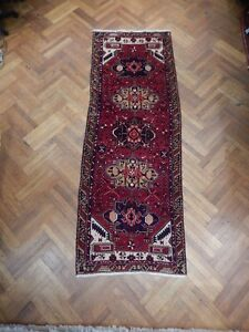 3x10 Persian Tribal Heriz Carpet Hard Wearing Old Design Hand Knotted Runner