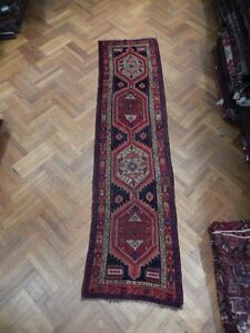 Hand Woven Runner 3x11 Semi Antique Persian Kurd Bijar Runner Admirable Nomadic