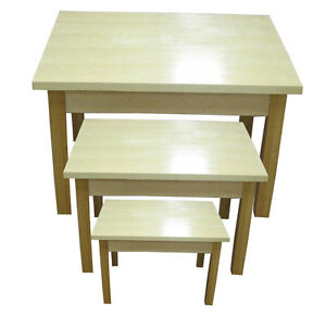 Nesting Display Table 48 40 32 Retail Store Fixture Maple Lot Of 3 New